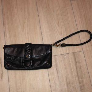 Black Leather Michael Kors wristlet/shoulder bag